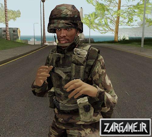 دانلود اسکین CJ با لباس ارتشی برای بازی (GTA 5 (San Andreas