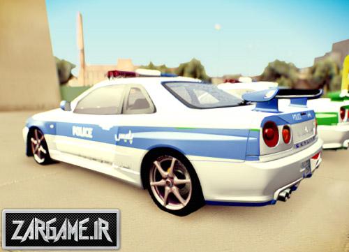 دانلود ماشین نیسان اسکای لاین پلیس (نیروی انتظامی و راهنمایی رانندگی) برای GTA Sa